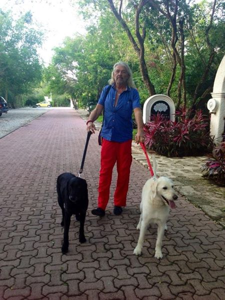 Honza walking Kiefer and Buddy.