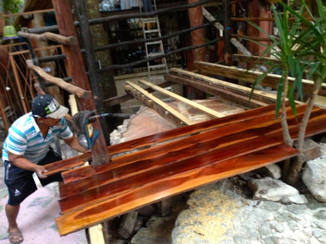 The treated tropical hardwood starting to be replaced.