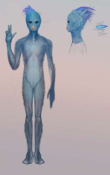 Blue Avian, one of the races of the Sphere Being Alliance