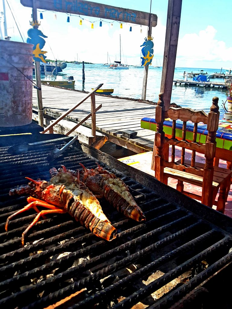 Fresh lobster prepared on the grill.